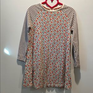 Mini Boden Dress Navy/Off-white with Red Flowers